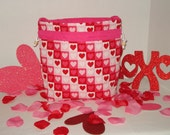 Valentine's Day Small Knitting Bag - Love in a Box with Pink Lining