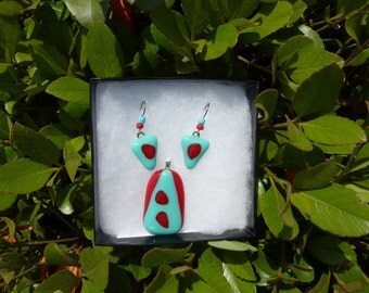 Fused Glass Pendant and Earrings Set  Turquoise and Red
