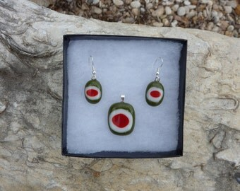 Fused Glass Jewelry - Pendant and Earrings in Olive Green White and Red