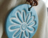 Glitter Turqouise Polymer Clay Daisy Pendant-Handmade, on natural leather cord-ADJUSTABLE