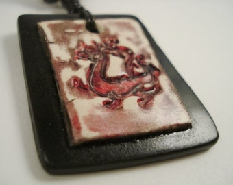UNISEX- Dragon Polymer Clay Chinese year-red, black, rustic, aged, adjustable, leather-Under 15 Dollars