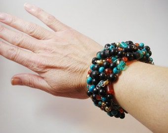 Beaded bracelet-wire wrapped-black, turquoise, orange, gold-Chunky Cuff-wood, glass, acrylic-under 15