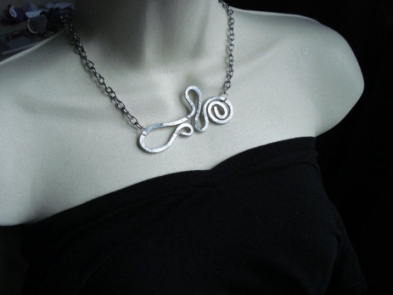 """Aluminum free form hammered wire pendant on  16"""" silvertone chain-Statement Necklace"""
