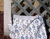 SALE inventory reduction Blue, brown, gray dot bag, perfect diaper bag, baby shower gift, grandma, Christmas or bridesmaid Wedding gift