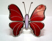 Stained glass Butterfly - Red Artique