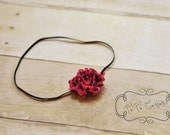 Tiny hot pink swirl shabby rose headband