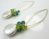 Coin pearls blue topaz and green peridot gold filled earrings