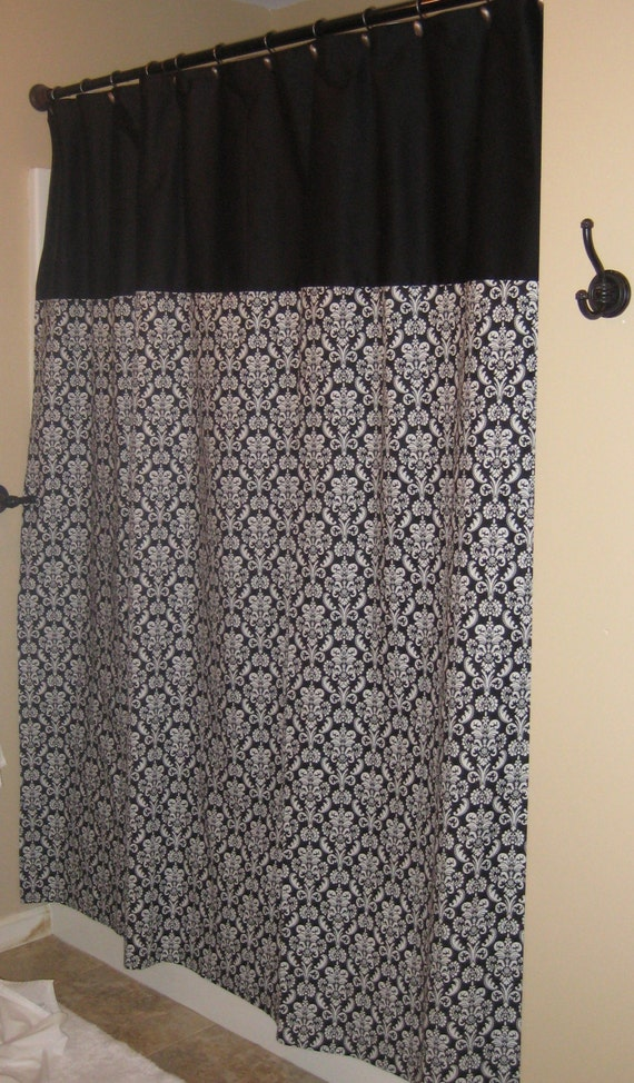 Black And White Damask Shower Curtain By Seamsbygwenny On Etsy