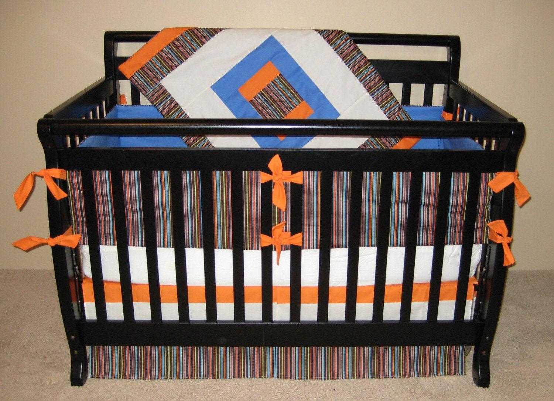 5 pc crib bedding set in chocolate blue orange ivory stripe - Blue and orange bedding sets ...