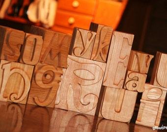 wood letterpress block letters/numbers replicas . . .RESERVED FOR irismorgan