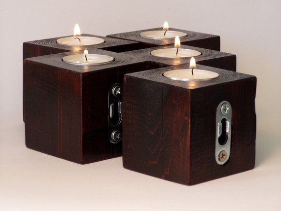 block wood candle holders . . .