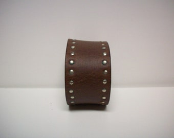 Wanderer - Upcycled Brown Leather Studded Cuff