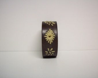 Stitch it Up - Brown Genuine Leather Upcycled Cuff