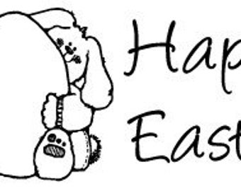 Happy Easter - Wooden Handled Rubber Stamp