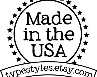 Made in the USA with Shop name - Custom Rubber Stamp