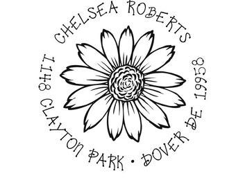 Sunflower Custom Return Address Rubber Stamp
