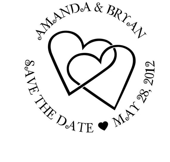 Save the Date Wooden Handle Rubber Stamp