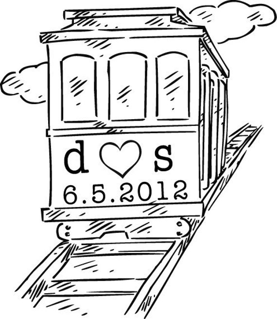 Trolley Rubber Stamp - Wedding Date - Initial - Custom Wooden Handle Stamp