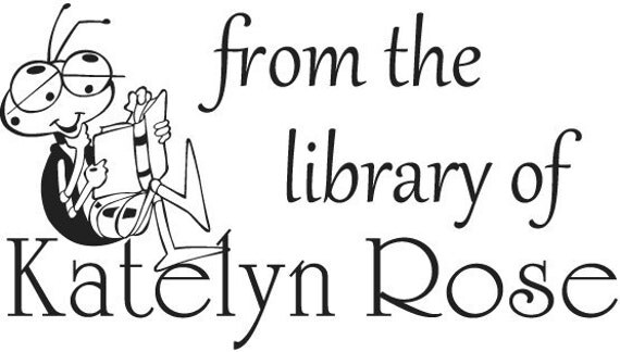 Reading Bug - From the Library of Stamp Book Plate stamp - Personalized Rubber Stamp