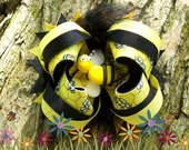 Bumble Bee Stacked Boutique Bow w\/free pierced earrings