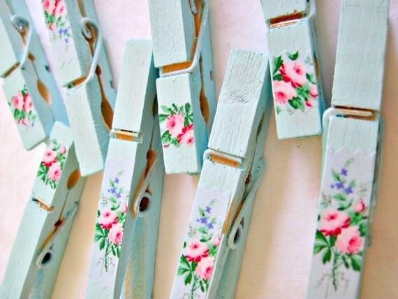 shabby aqua clothespins