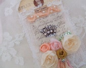 Hand Stamped CrownTag with Rhinestones and Roses