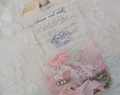 Mixed Media Art Tag  with Antique Lace and a Hand Stamped Crown Bookmark
