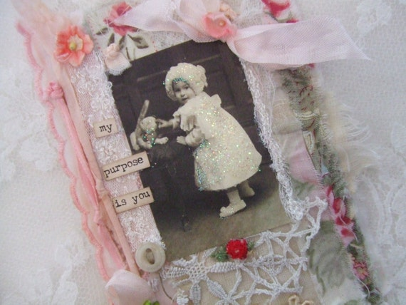 Vintage Children Lace Collage Shabby Wall Hanging