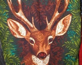 Vintage 60s 70s Deer Print Bark Cloth cotton fabric