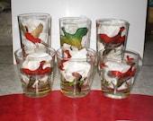 50s, Pheasant, Drinking, High Ball, Glasses, (Set of 6)
