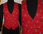 60s red cotton print button up vest mens size medium