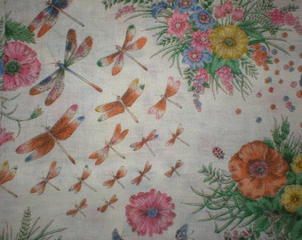 3 1/4 yards 45 wide Vintage 70s cotton butterfly floral dragonfly dressmaking fabric