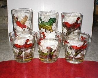 50s, Pheasant, Drinking, High Ball, Glasses, (Set of 6)