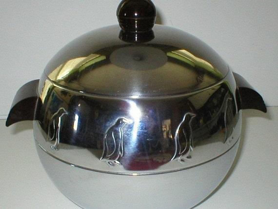 Vintage 50s Art Deco Styled Stainless Steel Penguin Ice Bucket
