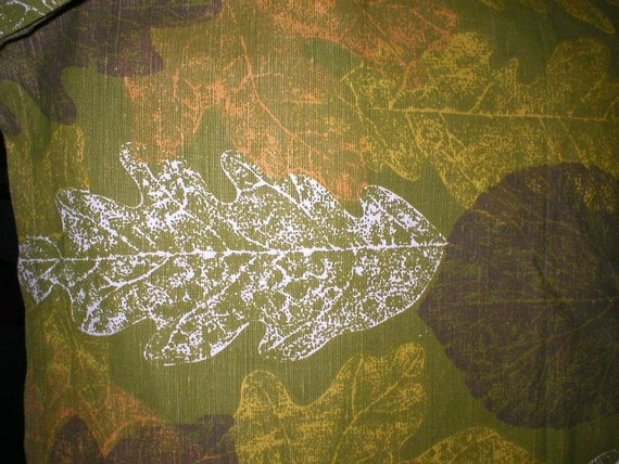 3 yards 28 wide Vintage 60s Modern Eames Era Leaf Print Bark Cloth cotton fabric
