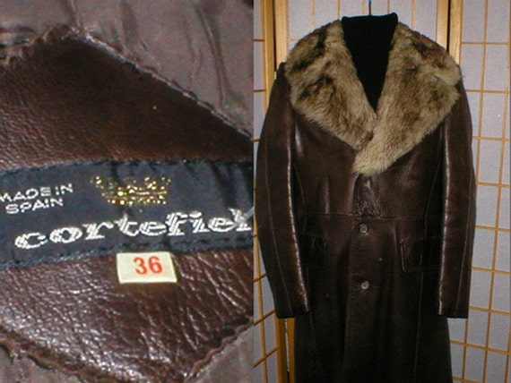 Vintage 70s Cortefiel Of Spain Brown Leather Coat With By