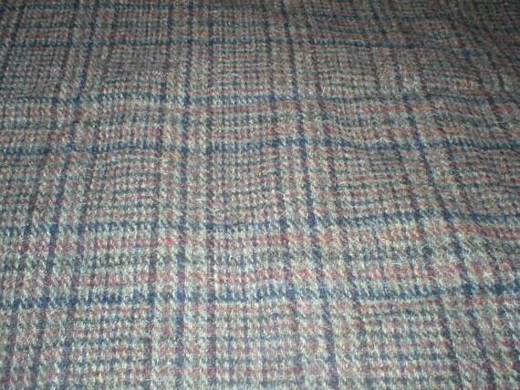 6 Yards 58 Wide Vintage 60s Plaid  Wool Coat  Fabric