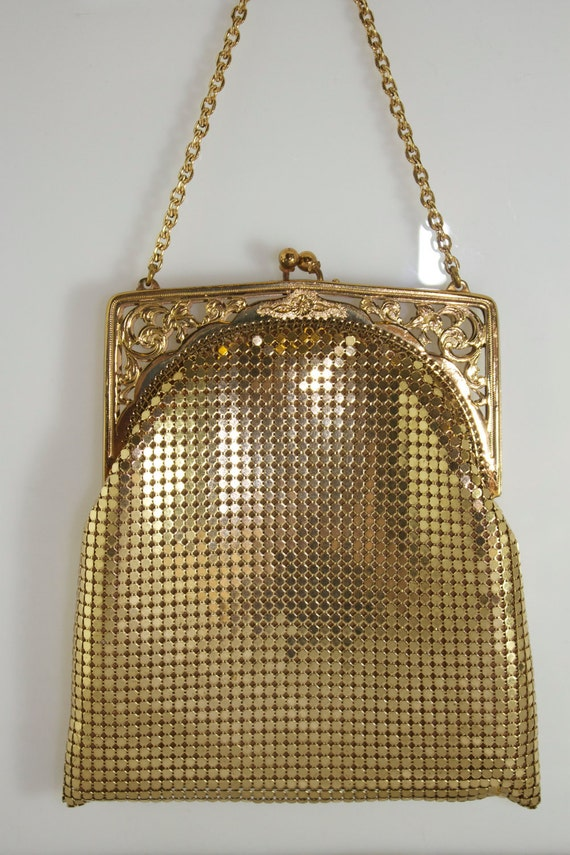 Vintage 40s Whiting And Davis Gold Metal Mesh Purse Bag