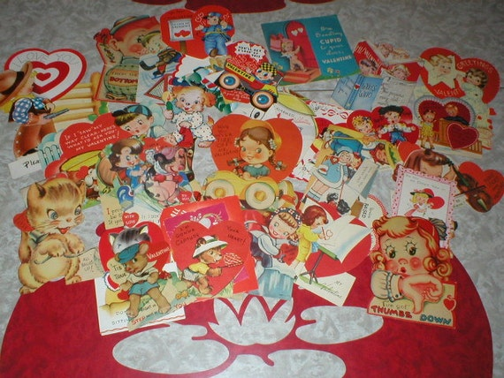 Lot of 38 / 1930s Vintage Valentines cards of adorable children animals cupids toys
