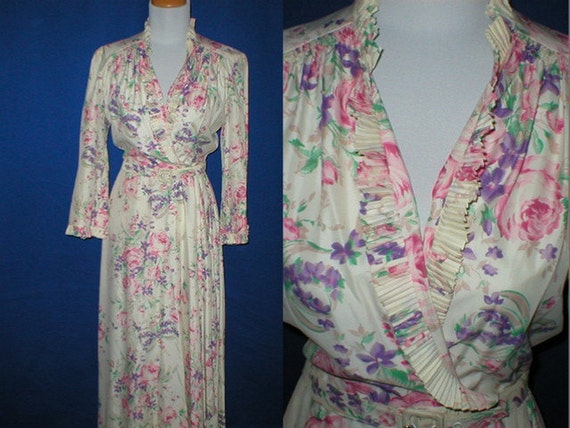 Vintage 40s Hollywood Rayon Taffeta Floral Robe Womens Size Small