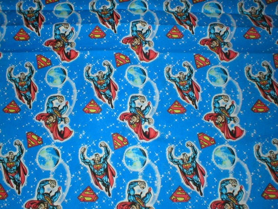 """2 Yards 44"""" Wide Vintage 60s Superman Cotton Polyester Blend Fabric"""