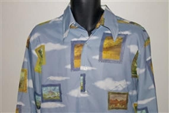 Reserved Vintage 70s Master Impressionist Paintings picture Print Disco Shirt Mens Size Large