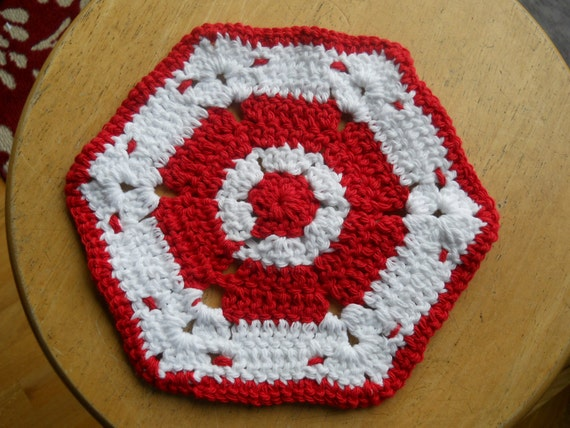 Pair DishRags Cotton Reusable Dishcloths Crocheted USA deep red white extralarge multicolored square hexagon dish cloth set