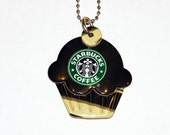 Funky Junq Recycled Aluminum Soda Pop Can Art  CUPCAKE NECKLACE STARBUCKS COFFEE