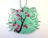 ARIZONA GREEN TEA HELLO KITTY NECKLACE Funky Junq Recycled Aluminum Soda Pop Can Art
