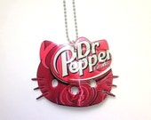 Dr PEPPER HELLO KiTTY NECKLACE Funky Junq Recycled Aluminum Soda Pop Can Art