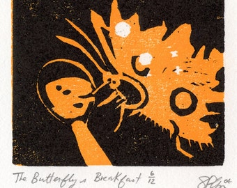 The Butterfly's Breakfast, small, limited edition woodblock print