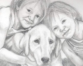 Custom Pencil Portrait   Two Children with One Pet