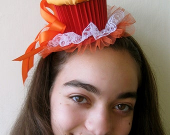 Cupcake Party Hat (Orange and Red)
