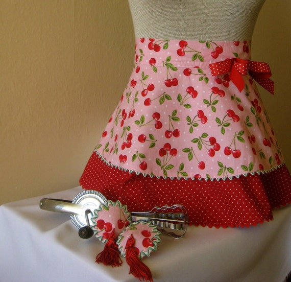 Vintage inspired pink w\/cherries apron and matching pasties set